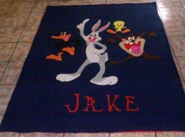 handmade fleece blanket bugs, daffy, tweedy, tazz twin size