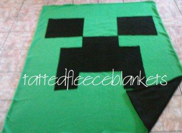 handmade fleece blanket minecraft inspired creeper twin size