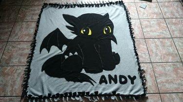handmade fleece blanket inspired toothless throw size
