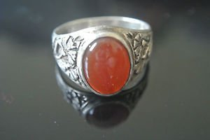 Turkish Agate Bohemian Ottoman Size 10 925 Sterling Silver Men's Ring
