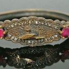 Turkish 1 Carat Ruby CZ Victorian Style Bronze Bengal Istanbul Vintage Bracelet