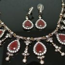 TURKISH VINTAGE COSTUME OTTOMAN SULTAN 3 CT RUBY RHINESTONE SILVER MIX SET