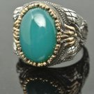 Turkish Ottoman 6 Ct Jade CZ Size 11.5 925 Silver Vintage Men's Statement Ring