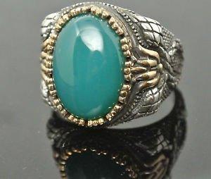 Turkish Ottoman 6 Ct Jade CZ Size 11.5 925 Silver Vintage Men's Statement Ring