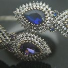 Turkish Handmade Vintage 1 Ct Sapphire & Amethyst CZ 925 Silver Bangle Bracelet