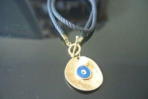 No Stone Designer Inspired Deep Blue Gold Plated Evil Eye Black Leather Pendant