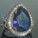 Turkish 4 Ct Pear Sapphire Ottoman Handmade Size 7.25 925 Vintage Silver Ring
