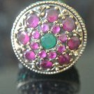 Turkish 0.3 Carat Ruby & Emerald Ottoman Victorian Style 925 Silver Size 6 Ring