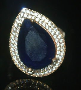 Turkish 5 Carat Pear Cut Sapphire Ottoman Victorian 7 925 Silver Sultan's Ring
