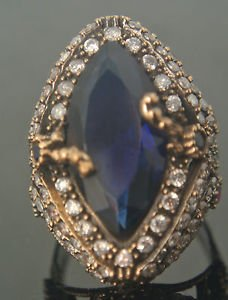 Turkish 3 Ct Pear Sapphire Ottoman Handmade Size 7.5 925 Vintage Silver Ring