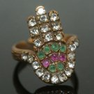 Vintage Turkish 0.05 Carat Ruby & Emerald CZ Bronze Size 6 Fatima's Hand Ring