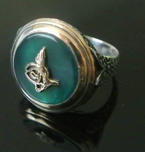 Turkish 5 Ct Emerald Over Sultan's Seal Size 10 925 Sterling Silver Men's Ring