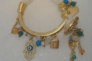 Designer Inspired 4K Bangle Blue Gold Plated Evil Eye Lace Bracelet AS IS
