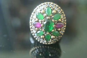 Turkish 0.75 Carat Ruby & Emerald Ottoman Victorian Style 925 Silver Size 8 Ring