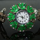 Turkish Ottoman Style Vintage Heart 0.2 Carat Emerald CZ Bronze Wrist Watch