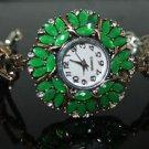 Turkish Ottoman Style Vintage Heart 0.2 Carat Emerald CZ Bronze Wrist Watch