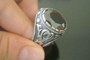 Turkish 5 Carat Onyx Ottoman Size 12 925 Sterling Silver Bohemian Men's Ring