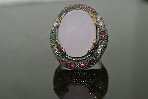 Turkish 6 Ct Pink Quartz Ottoman Victorian 925 Silver Sultan's Ring Size 8.5