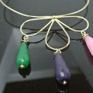 1 INCH AMETHYST EMERALD PINK QUARTZ GOLD PLATED DESIGNER NECKLACE SULTAN'S STYLE
