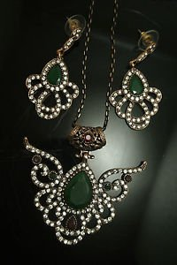 Turkish Costume Vintage Ottoman Victorian 4 Ct Pear Emerald CZ Jewelery Set