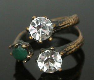 Turkish 0.75 Carat Emerald CZ Handmade Bronze Size 8 Sultan's Bench Tree Ring