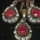 Turkish Ottoman Style Tulip Flower 0.75 Carat Round Ruby CZ Jewelery Bronze Set