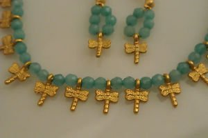 AQUAMARINE 8K BEADED GOLD PLATED DRAGON FLY DESIGNER SET HURREM SULTAN'S STYLE