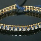 CRYSTAL BEADS GOLD PLATED DEEP BLUE DESIGNER 0.10 CARAT CZ BRACELET