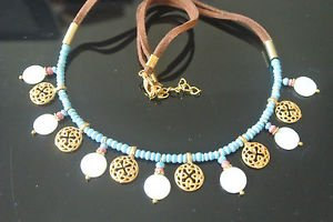 BLUE AFGAN BEADED MOTHER OF PEARL 4K BEADED GOLD PLATED DESIGNER NECKLACE