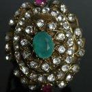 Turkish 1 Carat Emerald Vintage Looking Ottoman Victorian Style Bronze Ring