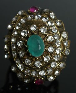 Turkish 1 Carat Emerald Vintage Looking Ottoman Victorian Style Bronze Ring