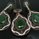 Turkish Costume Ottoman Victorian 4 Ct Pear Emerald Rhinestone Jewelery Set