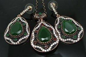 Turkish Costume Ottoman Victorian 4 Ct Pear Emerald Rhinestone Jewelery Set