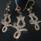 HANDMADE TURKISH OTTOMAN RUBY EMERALD CZ TULIP VINTAGE BOHO BRONZE JEWELRY SET