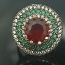 Turkish 3 Ct Round Ruby&Emerald 925 Sterling Silver Size 8 Hurrem Flower Ring