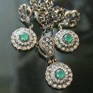 Turkish 0.5 Carat Emerald Ottoman Victorian Sultan's Round Bronze Jewelry Set