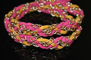 NO STONE TWO COLOR LEATHER GOLD PLATED OTTOMAN VICTORIAN WRAP DESIGNER BRACELET