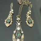 HANDMADE TURKISH OTTOMAN 0.25 CT EMERALD CZ FLOWER TULIP BRONZE JEWELRY SET