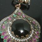 Ottoman Victorian Style 5 Carat Onyx 925 Silver Hurrem Flower Tulip Pendant