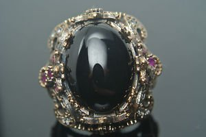 Turkish 4 Carat Onyx Ottoman Size 9 925 Sterling Silver Bohemian Unisex Ring