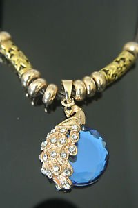 Bronze Turkish Vintage 6 Carat Sapphire Peacock Ottoman Victorian Drop Necklace