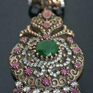Ottoman Victorian Style 5 Carat Emerald 925 Silver Hurrem Flower Pendant