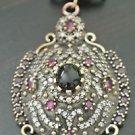 Ottoman Victorian Style 2 Carat Onyx .925 Silver Hurrem Flower Pendant