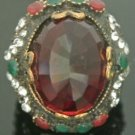 Turkish 5 Carat Ruby Vintage Bronze Ottoman Victorian Size 7.5 Round Bent Ring