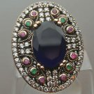 Turkish 3.0 Carat Sapphire Ottoman Size 7.5 925 Sterling Silver Sultan Mix Ring