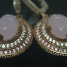 TURKISH OTTOMAN VICTORIAN 925 SILVER 4 CT PINK QUARTZ HURREM DANGLE EARRING