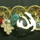 NO STONE TURKISH DESIGNER GOLD PLATED CRYSTAL RING SIZE 8 EVIL EYE DOUBLE RING