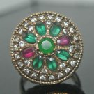 Turkish 0.75 Carat Emerald 925 Sterling Silver Sultan's Tangerine Size 8 Ring