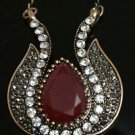 HANDMADE TURKISH OTTOMAN 4 CT RUBY CZ TULIP BLACK RHINESTONE BRONZE JEWELRY SET