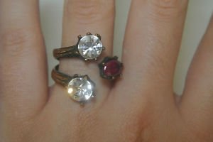 Vintage Turkish 0.75 Carat Ruby CZ Ottoman Bronze Size 8 Bench Tree Ring